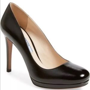Prada Black Saffiano Patent Leather Pump Heels